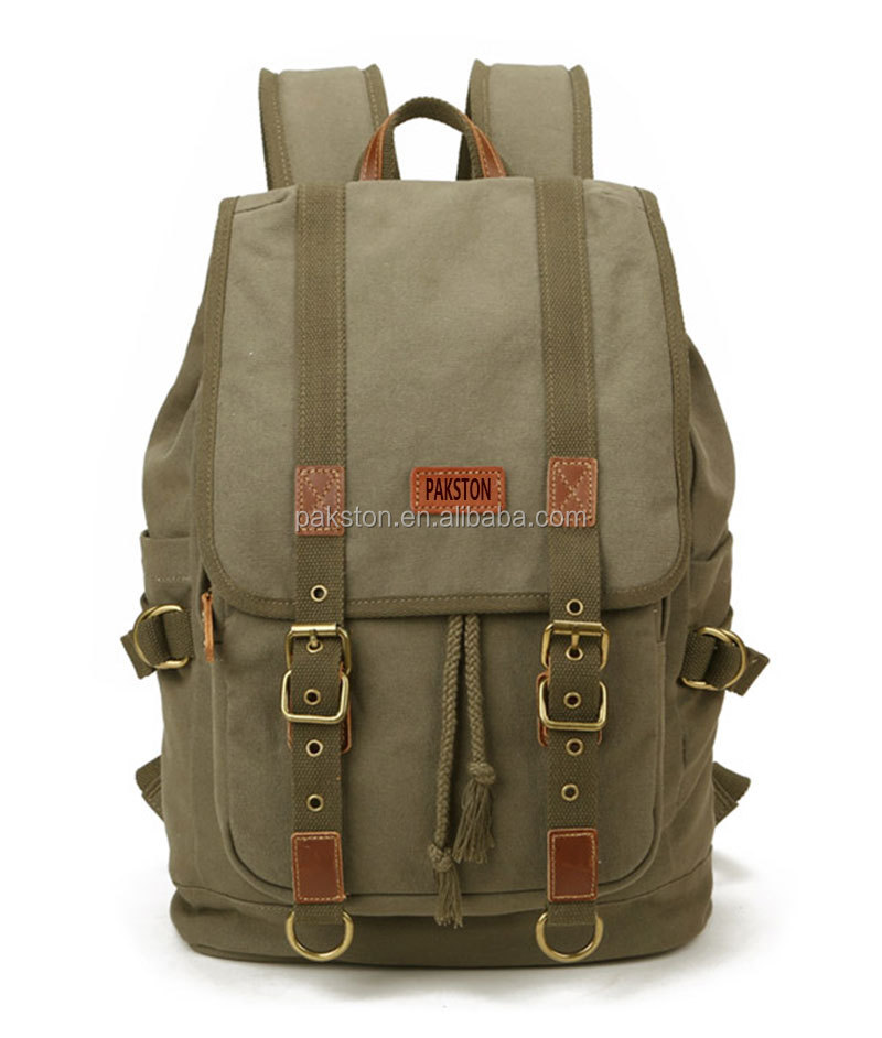 Big capacity canvas backpack Cotton Canvas backpack Army Green