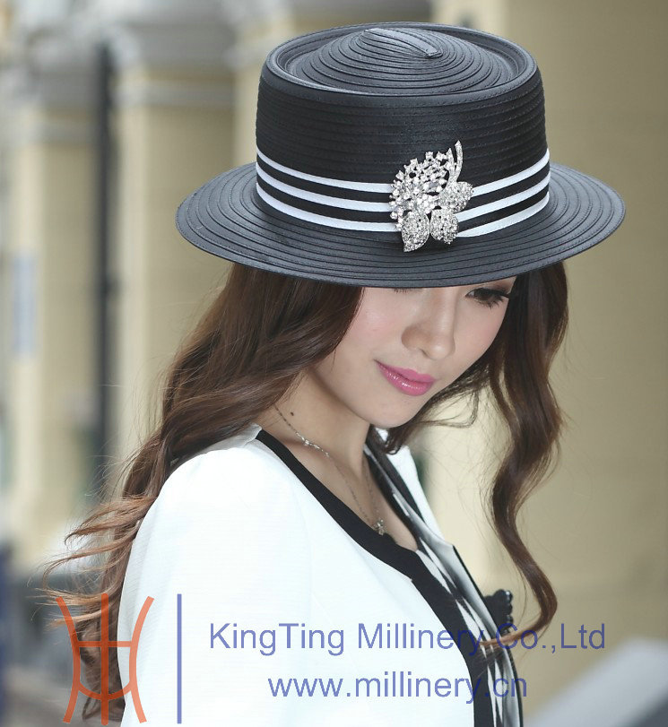 2015 Wholesale Handmade Satin Ribbon Womens Dress Hats