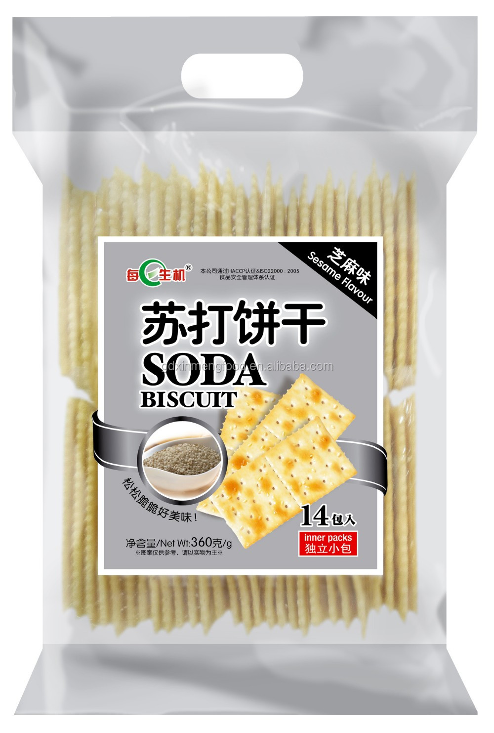White sesame Soda Crackers Biscuits 360G With milk for breakfast