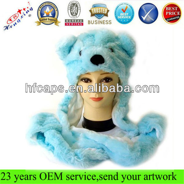 Fashion long mittens scarf set plush winter animal hats for adults