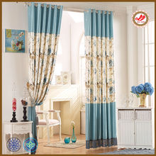 Luxury floral bronzing satin window curtain colour block 2014 new arrival curtain design