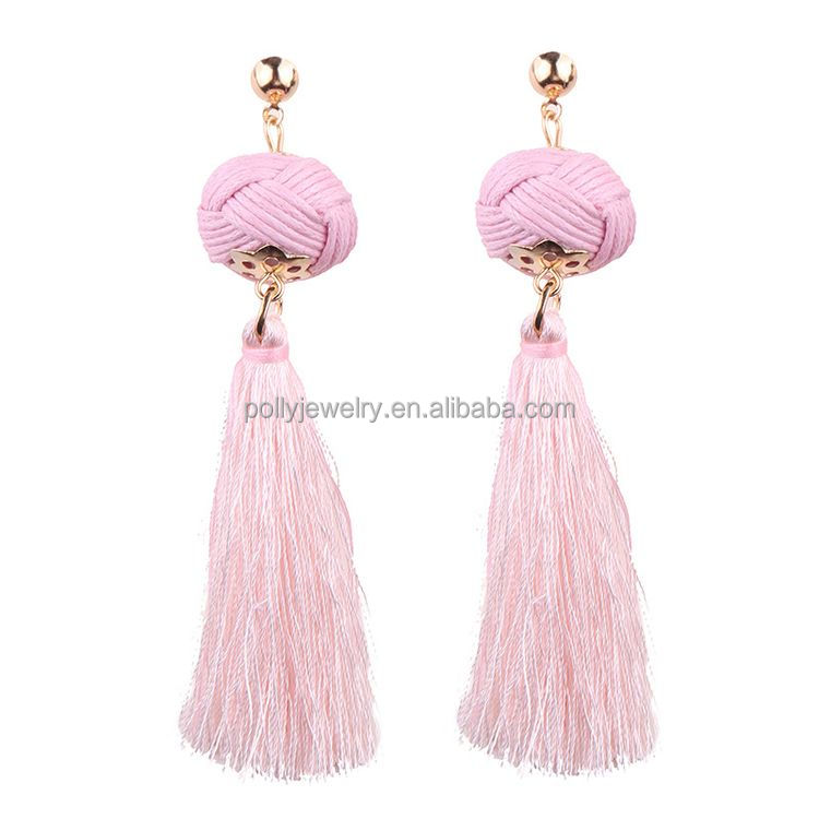2018 New Arrival Hot Sell Pink Color Ball Silk Thread Fancy Drop Earrings