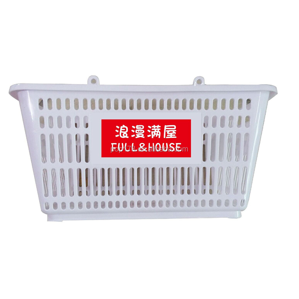 Custom logo small foldable plastic shopping basket for store