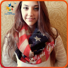 Yiwu Collection American Flag custom print multi-color infinity fashion scarf wholesale