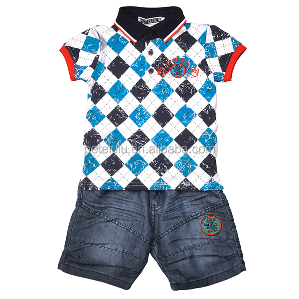 Custom Polo Collar Plaid Shirt and Jeans Suit For Boys From China Supplier