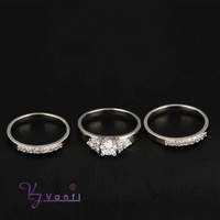 factory supply make 2015 new fashion jewelry three diamond silver ring