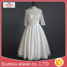 Long Sleeve White Lace Applique Wedding Dress
