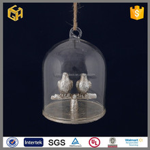 The handmade natural glass christmas decoration crafts with birds inside