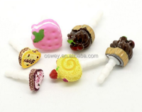 Universal 3.5mm Cartoon Cake Earphone Ear Cap Dock Dust Plug For Samsung Galaxy S5