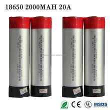 lithium ion battery 3.7v 2000mAh 18650 li-ion battery pack, li-ion battery 2000mAh