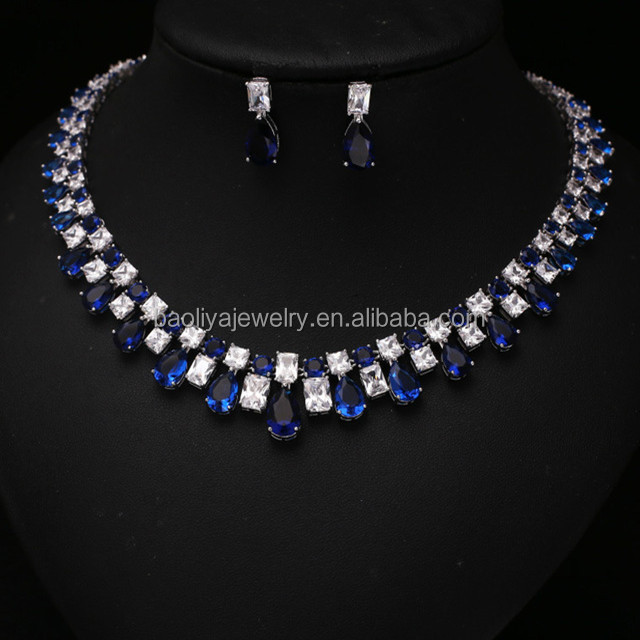 2015 Wholesale High quality Bridal wedding bling jewelry set with AAA cubic zirconia stone necklace and earrings set