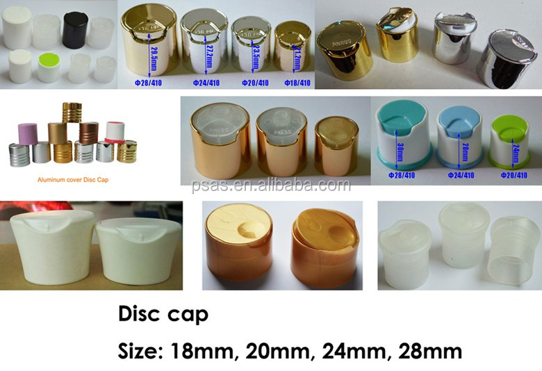 24/410 Aluminium plastic Disc Top Press Cap for Cometic Bottle