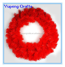 High Quality Red PVC Christmas Plastic Wreath for Indoor Decorations