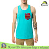 95% cotton 5% spandex custom mens plain tank top with a pocket
