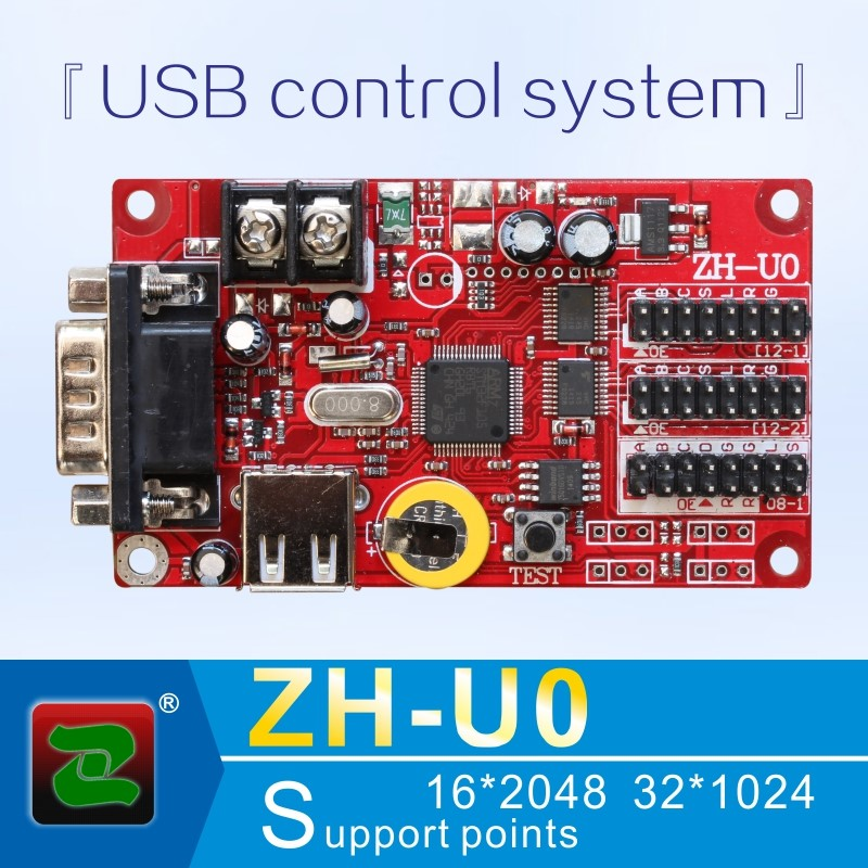 Zhonghang text and animation strip multi programs indoor outdoor ZH-U0 USB and serial LED controller card