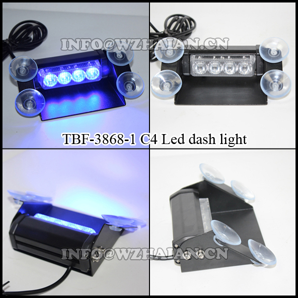 4LED 12V Fire Car Deck Truck Dash Strobe Flash Warning Light Emergency TBF-3868-1C4