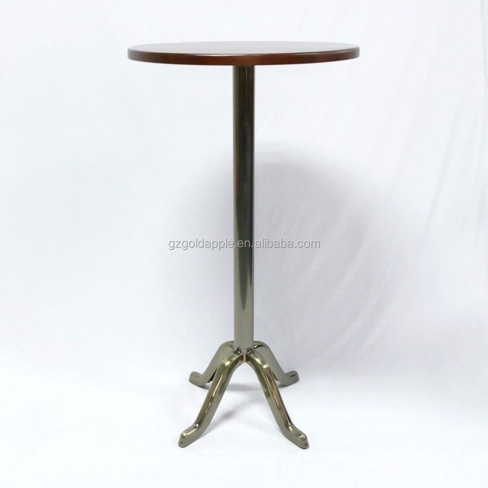 Commercial high bar table with metal or timber top, 105cm height wooden bar table with steel base