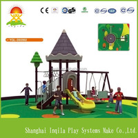 High Quality children outdoor playground plastic slide with swing sets