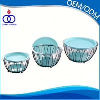 Eco-Friendly Modern Standing Salad Bowl With Metal Wire Basket