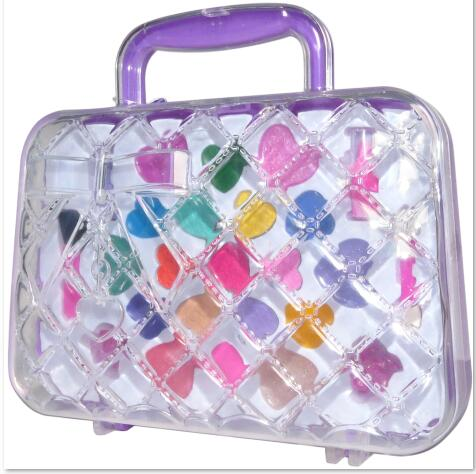 2017 fashion design Plastic Transparent handbag Makeup Sets For Girls Kids cosmetics Sets