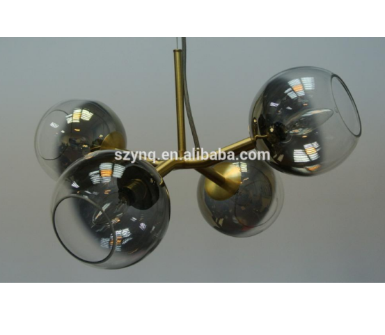 Modern Color led glass chandelier light & pendant lamp with Oblique Cutting Glass with Four Sockets