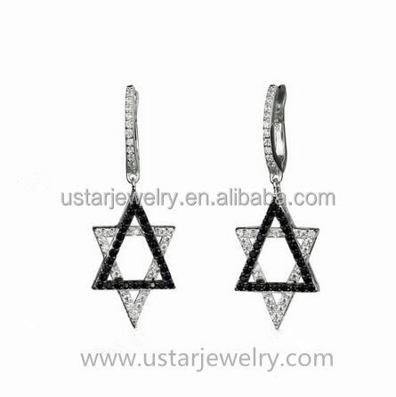 2016 new 925 sterling silver sexangle earring unique party jewelry earrings