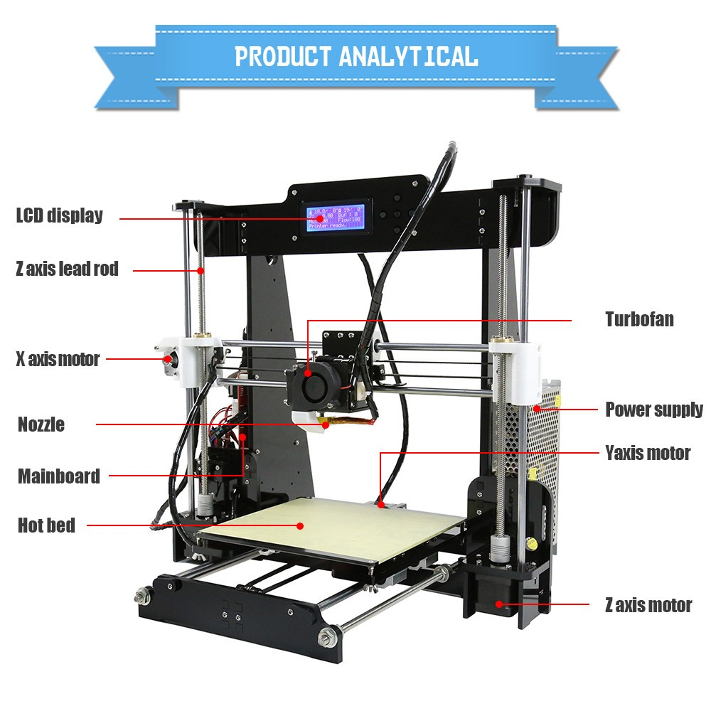 High Resolution Digital Printer Machine 220x220x240MM Large Format 3D Printer