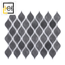 Grey Color Factory Supply Bathroom Porcelain Mosaic Moroccan Leaf Shape Mosaic Tiles