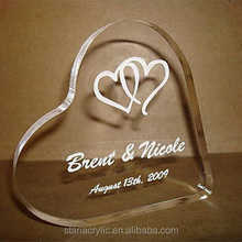 "Clear Acrylic Personalized 5"" Heart Wedding Cake Topper Lucite Topper for Wedding Cake"