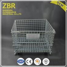 ISO 9001 Industrial Metal Basket Portable Storage Wire Mesh Cage Container