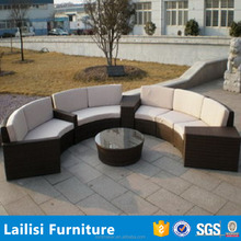 Outdoor house furniture of rattan half round used sectional sofas