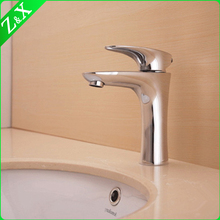 white chrome tall round hot and cold water basin faucet Olga series