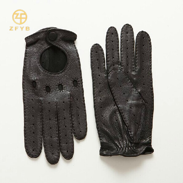 top grade fashion black deerskin motorbike leather gloves with hand sewing