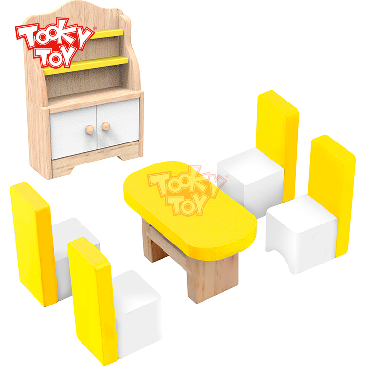 Wooden Doll House Mini Furniture Dinning Room Toys