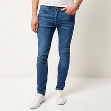Mens Washed Denim Trousers Men Latest Design Denim Jeans Pants Bright blue Sid skinny stretch jeans