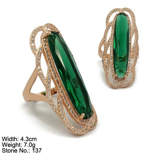RZQ-0161 Silver Ring Arrival Emerald Color Main Stone Party Ring