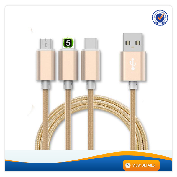AWD002 For iphone 7 with usb braided cable 3 in 1 usb cable metal type c cable