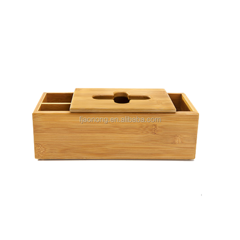 Aonong High Quality Bamboo tissue box/desk organizer for smartphones & Tablets