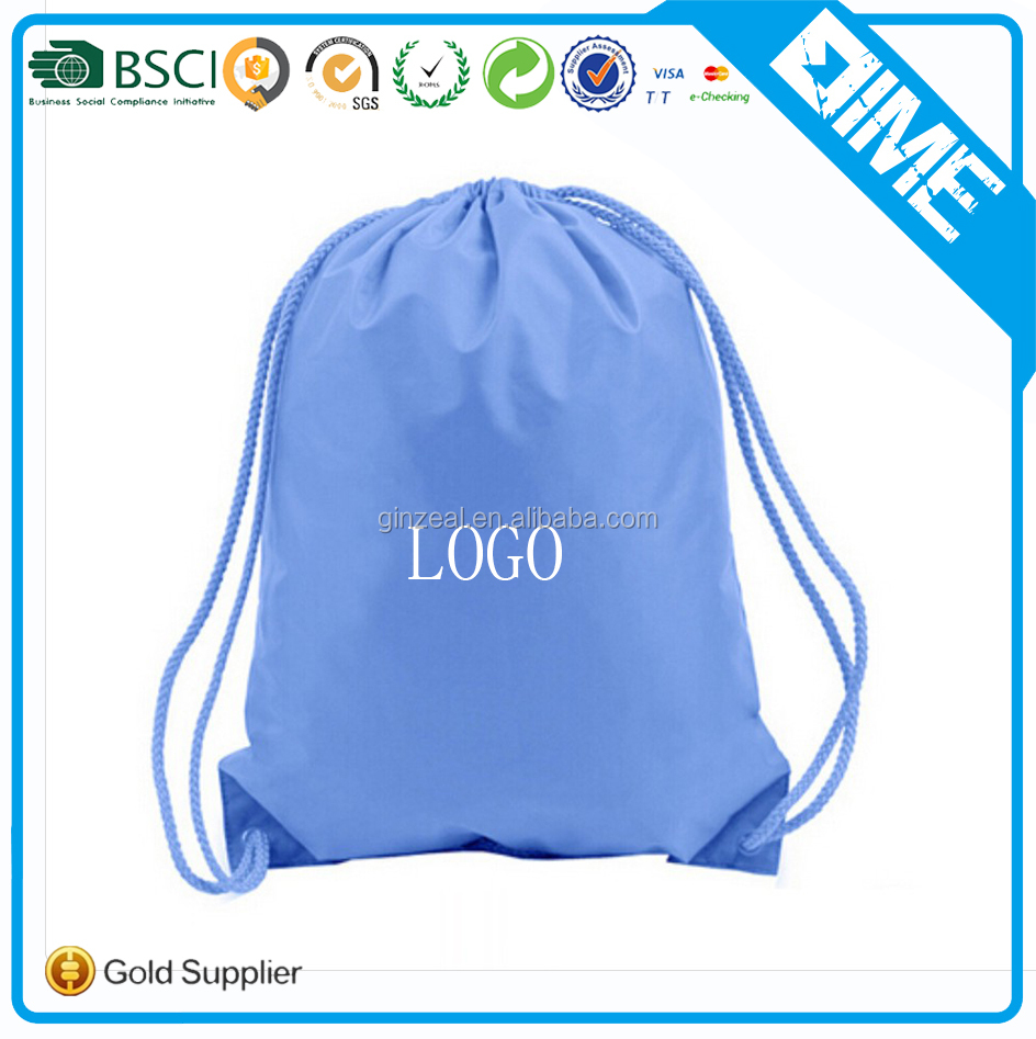 Wholesale 2017 Custom Waterproof Fold Up Polyester Drawstring Bag