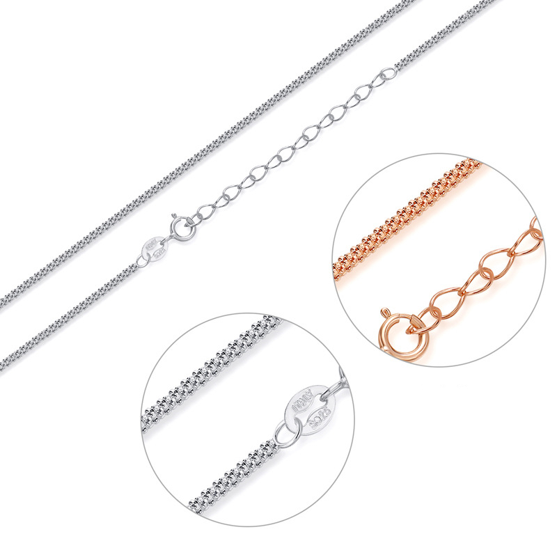 28cm Rose Gold Plated 925 Sterling Silver Clavicle Necklace Chain