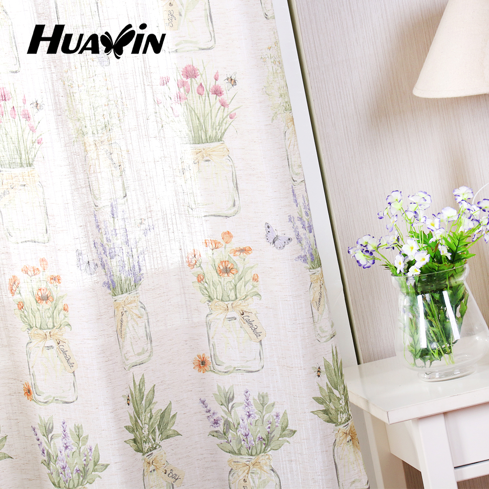 beautiful flower and butterfly design printed curtain,linen printed fabric curtain for kid room
