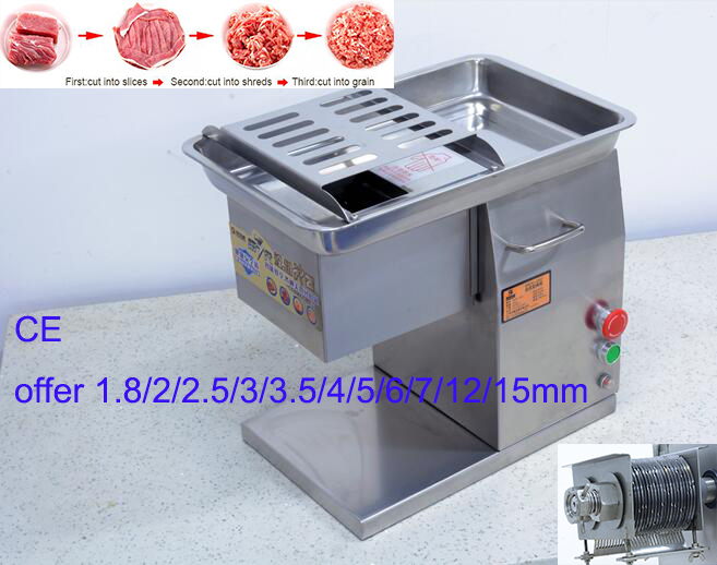 CE commercial meat beef pork cut cutting machine, table type fresh meat slicer, electric meat slicing machine