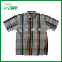 Men's yarn dyed cotton casual half sleeve muslcle shirts