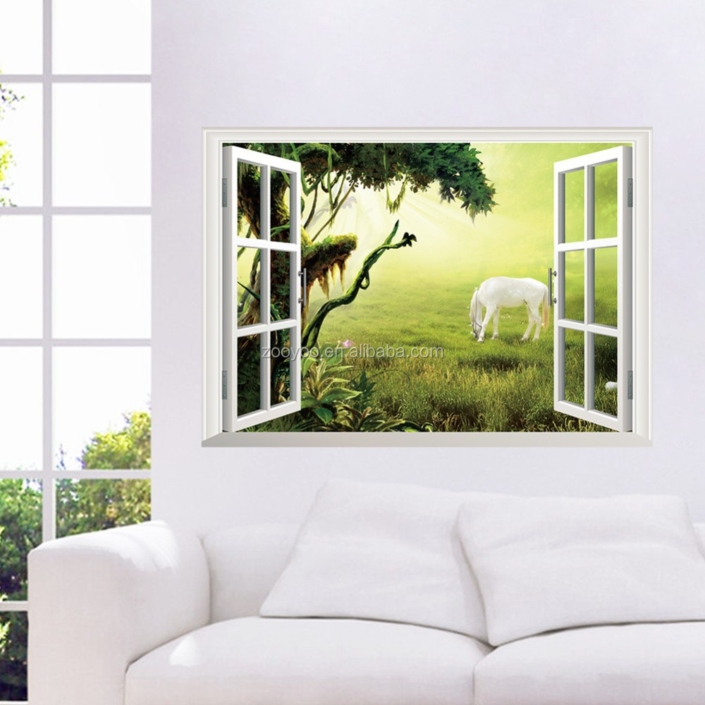 ZooYoo removable wall sticker Huge Green Meadow 3D Window View Decal living room decoration Art Mural Fantasy Nature (W019)