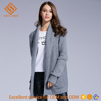2017 new fashion plain color long sweater design , long sleeve loose knit winter button cardigan sweater coat for women