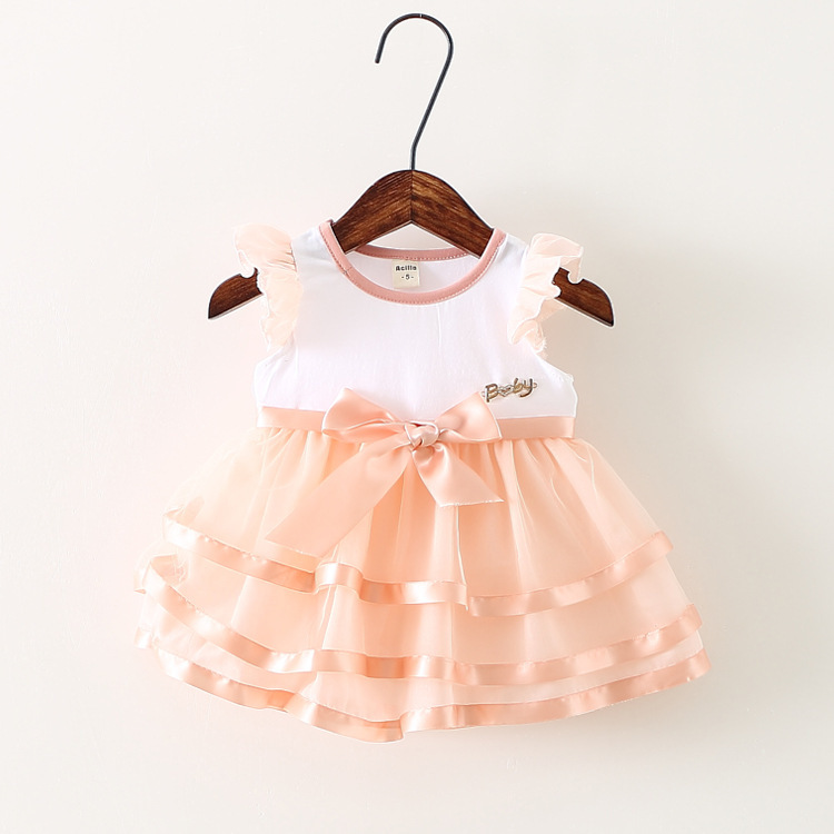 2015 summer style Korean baby girl dress lovely pure cotton tops veil Layered princess dresses baby girl clothes