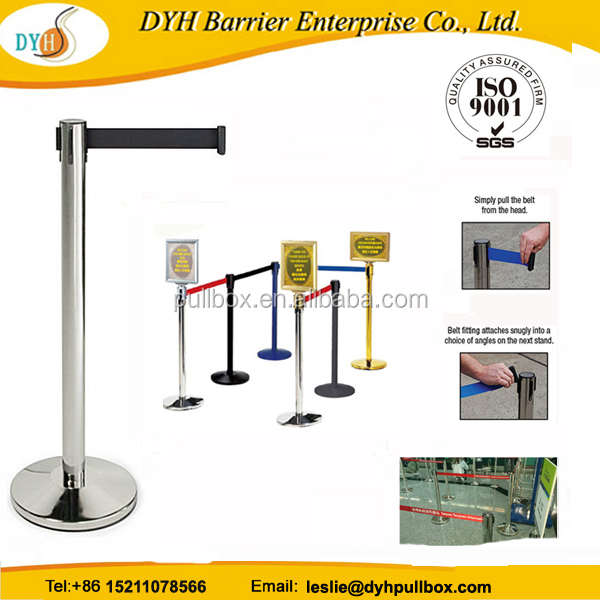China factory retractable belt stanchion,stanchion control post/removable sign