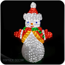 Acrylic figurines christmas snowman led fairy light outdoor
