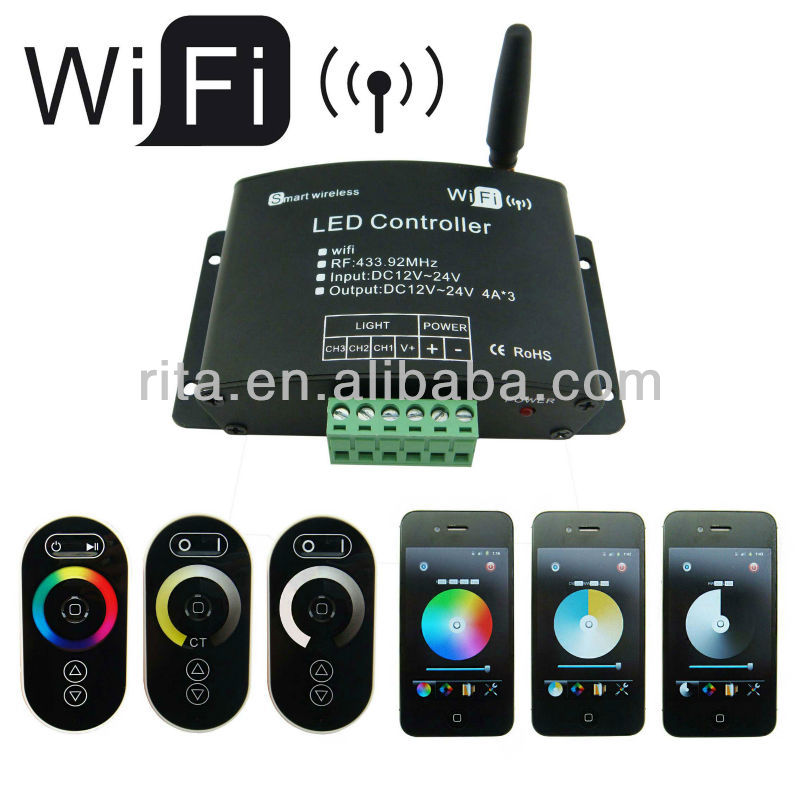 LED wifi controller;DC12-24V input;4A*3channel output;3-in-1(Dimming, CT, RGB) support apple/android software