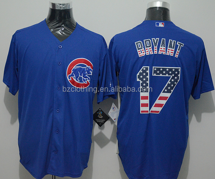 Men's Chicago Cubs Kris Bryant #17 Blue Fashion Stars & Stripes Cool Base Jersey